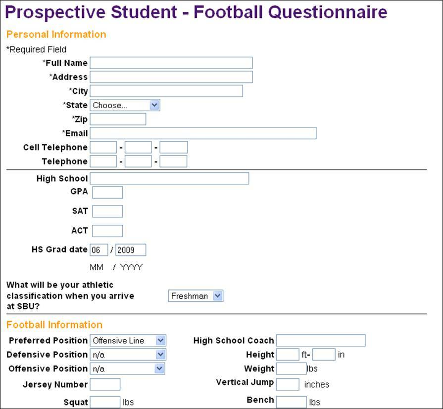 Recruiting Questionnaire Football And Basketball